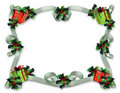 Christmas Border ribbons holly presents Stock Images