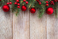 Christmas border on wooden background Stock Image