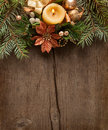 Christmas border on on wooden plank Royalty Free Stock Image