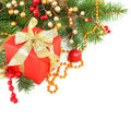 Christmas border with Xmas tree and red gift Royalty Free Stock Photography
