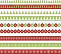 Christmas borders set of seamless ribbons Stock Photos