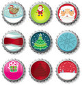 Christmas bottle caps Stock Images