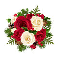 Christmas bouquet with roses. Royalty Free Stock Photo