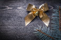 Christmas bow fir tree branch on wooden board holiday concept Royalty Free Stock Image