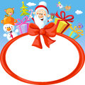 Christmas bow frame wit Santa Claus and gifts- funny vector background illustration