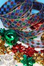Christmas bows and ribbon. Royalty Free Stock Photo