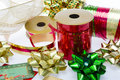 Christmas bows and ribbon ribbons gift tags Royalty Free Stock Image