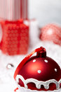 Christmas Box with bauble. Royalty Free Stock Photography