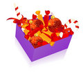 Christmas box with candies on isolated background Royalty Free Stock Photos