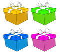 Christmas box, gift icon set, symbol, design. vector illustration isolated on white background. Royalty Free Stock Photo