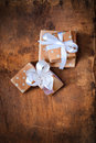 Christmas boxes on a wooden surface Stock Photos