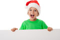 Christmas boy standing with empty blank Stock Image