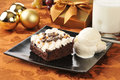 Christmas brownie and ice cream Royalty Free Stock Photography