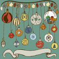 Christmas bulb collection hand drawn vector of different bulbs with banner Royalty Free Stock Images