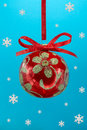 Christmas bulb with snoweflakes. Royalty Free Stock Photo