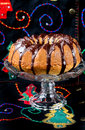 Christmas bundt cake with chocolate glaze Stock Images
