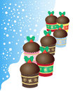Christmas buns an illustration of a group of mini chocolate decorated with green holly leaves and red berries on a snowy Royalty Free Stock Image