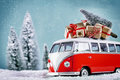 Christmas Bus with xmas gifts Royalty Free Stock Photo