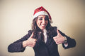 Christmas businesswoman smiling positive on white background Royalty Free Stock Photography
