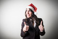 Christmas businesswoman smiling positive on white background Royalty Free Stock Image