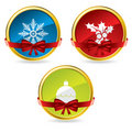 Christmas buttons with bow and ribbon Royalty Free Stock Images