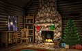 Christmas Cabin Interior Royalty Free Stock Photo