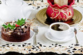 Christmas cake and coffee Stock Photography