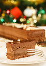 Christmas cake dessert luxury chocolate at meal Stock Photos