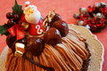 Christmas cake with mont blanc cream and chestnuts Stock Image