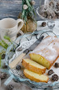 Christmas cake on the old wooden background Royalty Free Stock Images