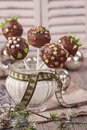 Christmas cake pops in a vase with sugar Stock Image