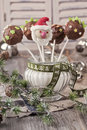 Christmas cake pops in a vase with sugar Royalty Free Stock Photo