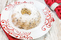 Christmas cake with raisins traditional viewed from above Royalty Free Stock Photos
