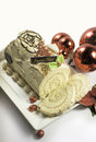 Christmas cakes buches de noel holiday cake decoration stock photo Stock Photo