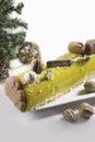 Christmas cakes buches de noel holiday cake decoration stock photo Stock Image