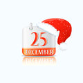Christmas Calendar Icon with ed Hat Royalty Free Stock Photos