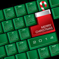 Christmas calendar illustration of on computer keyboard with candy cane Stock Photos