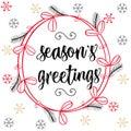 Christmas calligraphy Season`s Greetings. Hand drawn brush lette Royalty Free Stock Photo