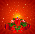Christmas candle background pillar surrounded by red stripe on radial Royalty Free Stock Image