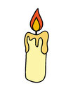 Christmas candle, burning wax candle icon, symbol, design. Winter vector illustration on white background.