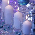 Christmas candle card stock photos candlelight of white candles on blue purple background Royalty Free Stock Photo