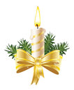 Christmas candle combined tree branches illustration Royalty Free Stock Photography