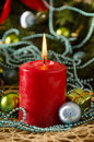 Christmas candle gifts balls cones close Royalty Free Stock Photo