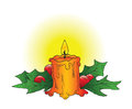 Christmas candle a hand drawn ink vector of a adorned with holly Stock Image