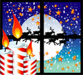 Christmas Candle Moon Light Window Stock Images