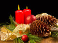 Christmas Candle With Pine Cone