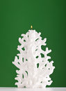 Christmas candle shaped like a christmas tree on green background Stock Images