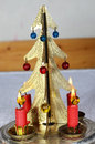 Christmas candle stick antique metal Stock Image