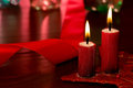 Christmas candle still life with and unfocused background Stock Photos