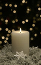Christmas Candle White Silver Snowflake Royalty Free Stock Photo